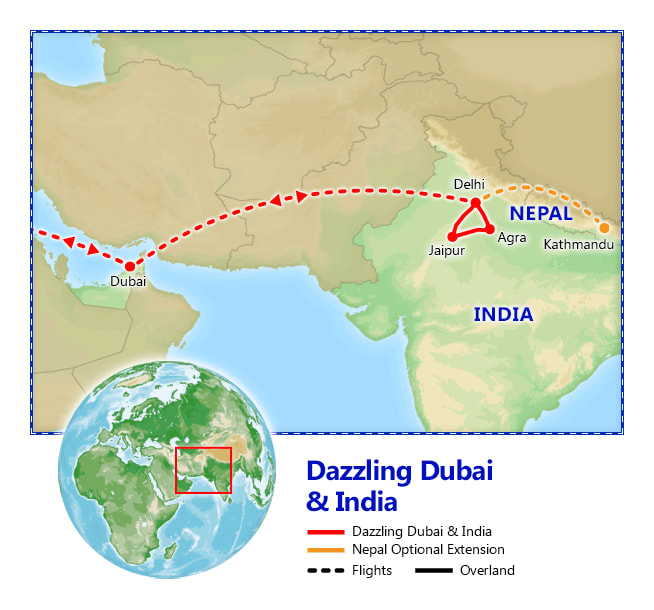 Dazzling Dubai & India map