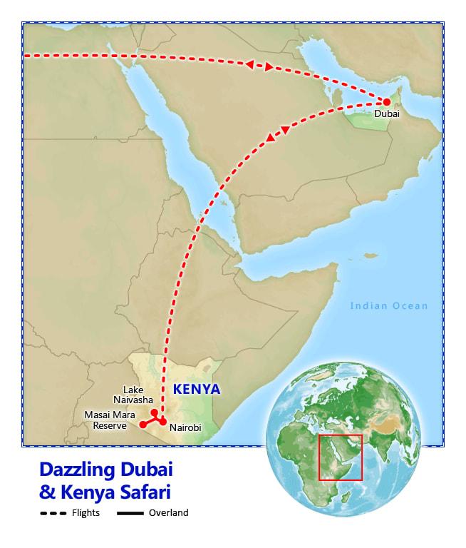 Dazzling Dubai & Kenya Safari map