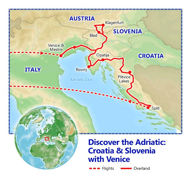 Discover the Adriatic: Croatia & Slovenia with Venice 2019 map