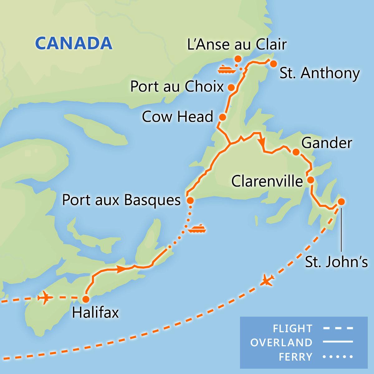 Discover Newfoundland & Labrador map