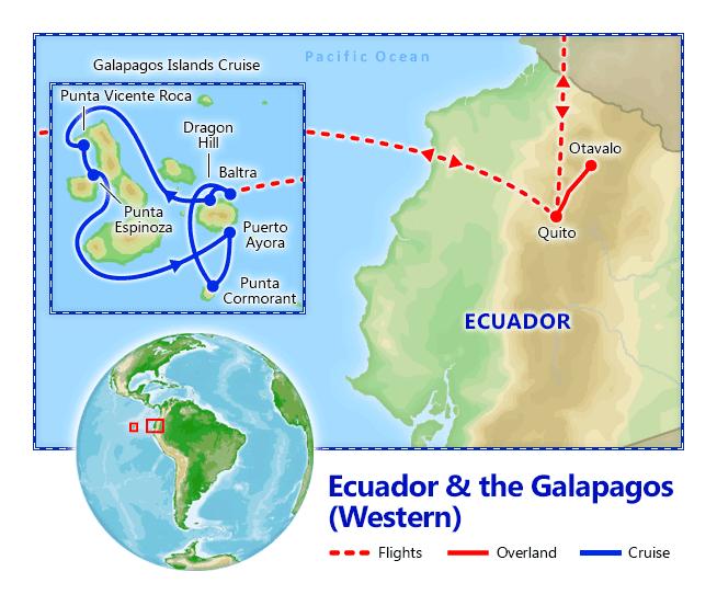 Ecuador & Galapagos Cruise map