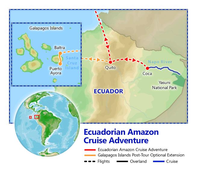 Ecuadorian Amazon Cruise Adventure map