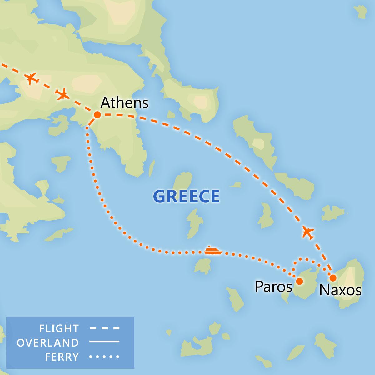 Athens, Paros & Naxos Adventure map