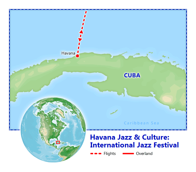 Havana International Jazz Festival 2020 map