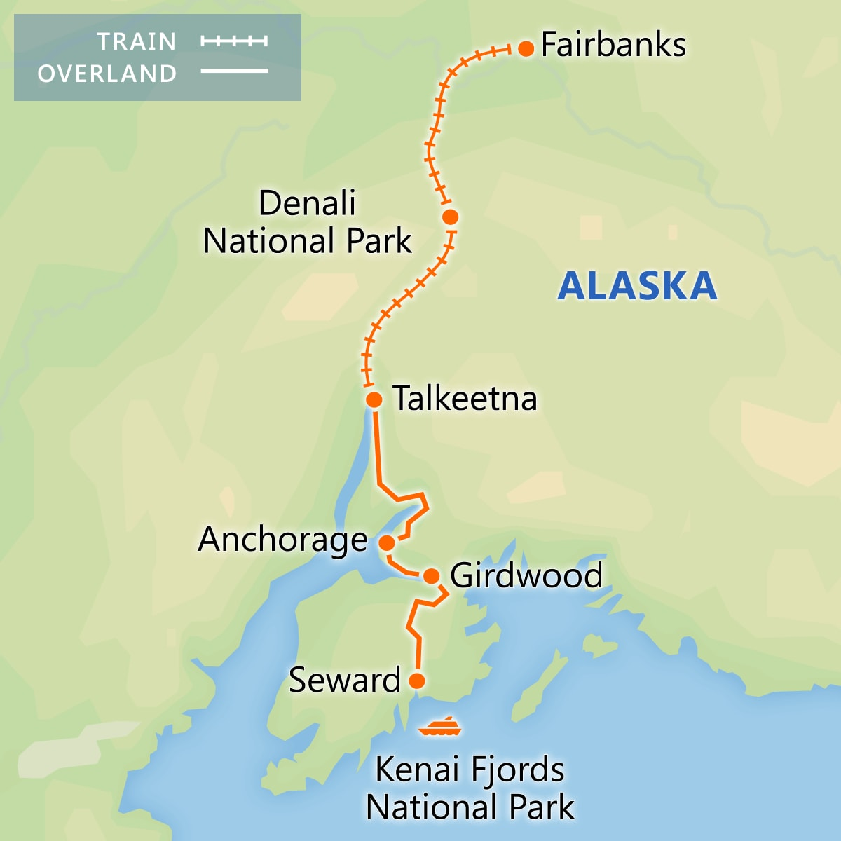 Highlights of Alaska map