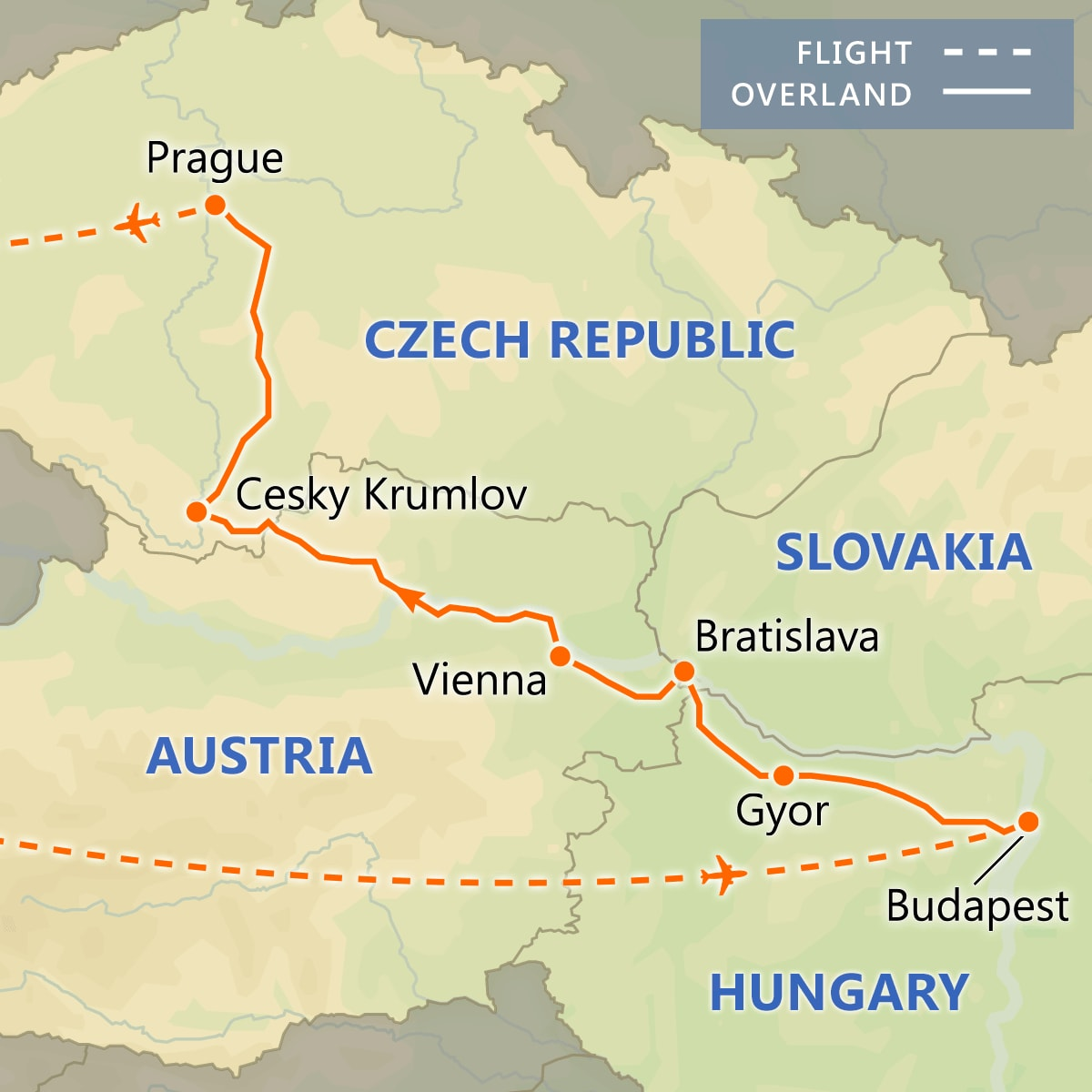 Highlights of Central Europe map