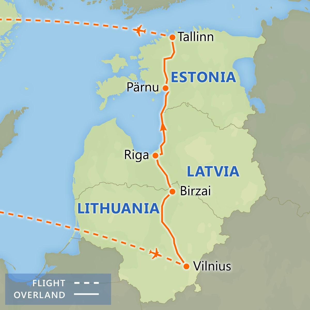 Highlights of the Baltics map