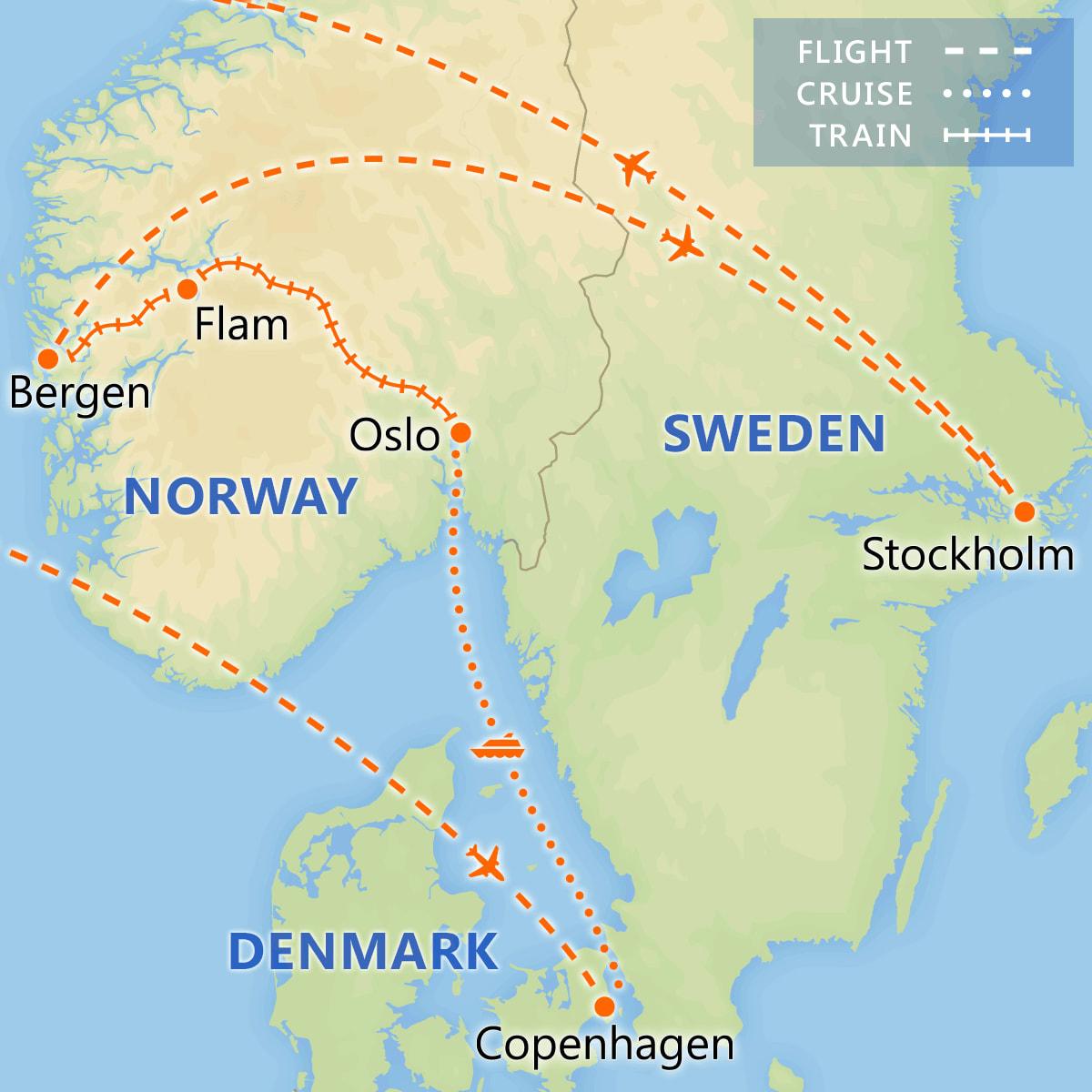 Highlights of Scandinavia map