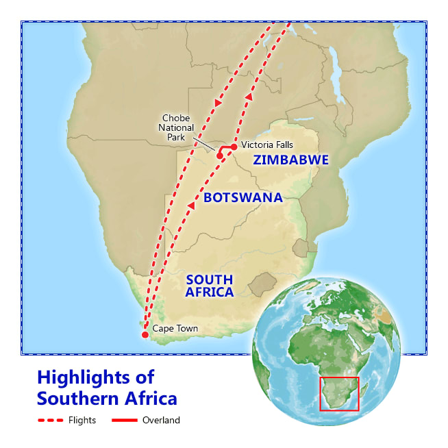 Highlights of Southern Africa map