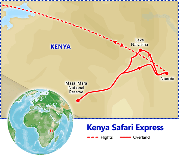Kenya Safari Express map