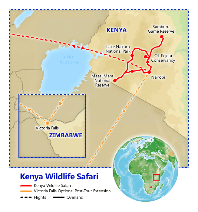 Kenya Wildlife Safari map
