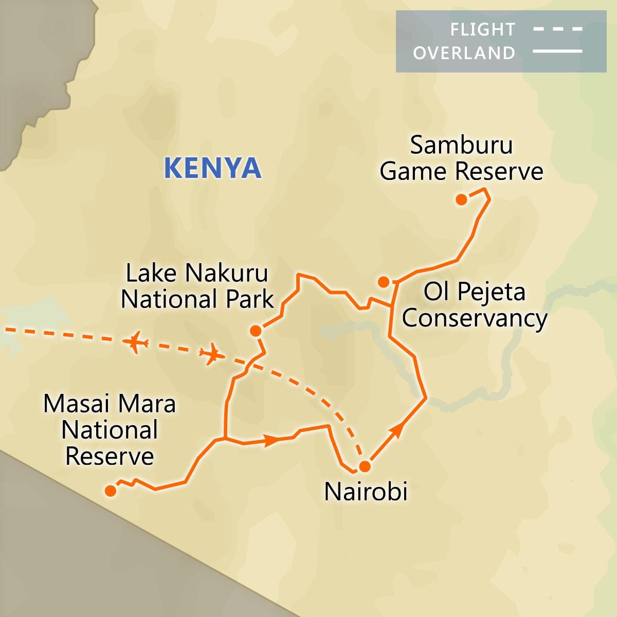 Kenya Wildlife Safari map
