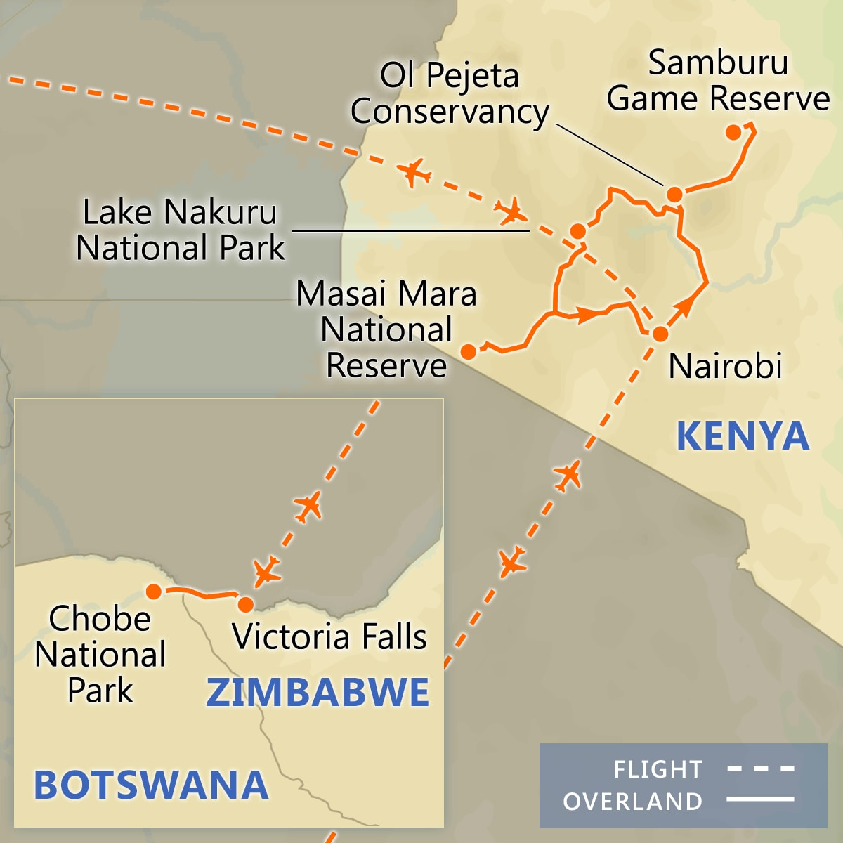 Kenya Wildlife Safari with Victoria Falls map