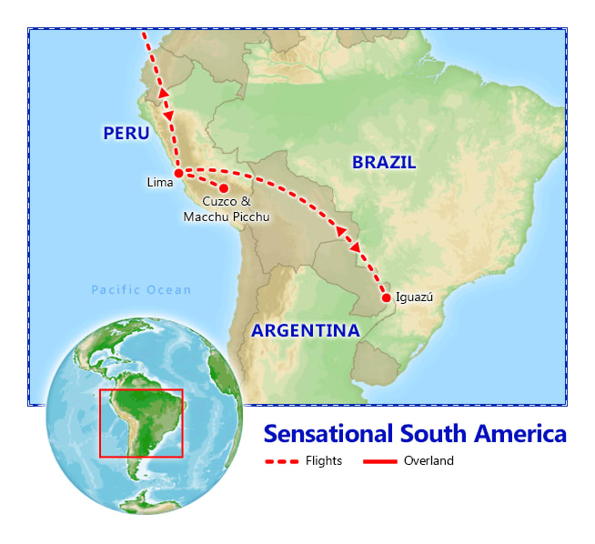 Sensational Peru & Iguazu Falls map