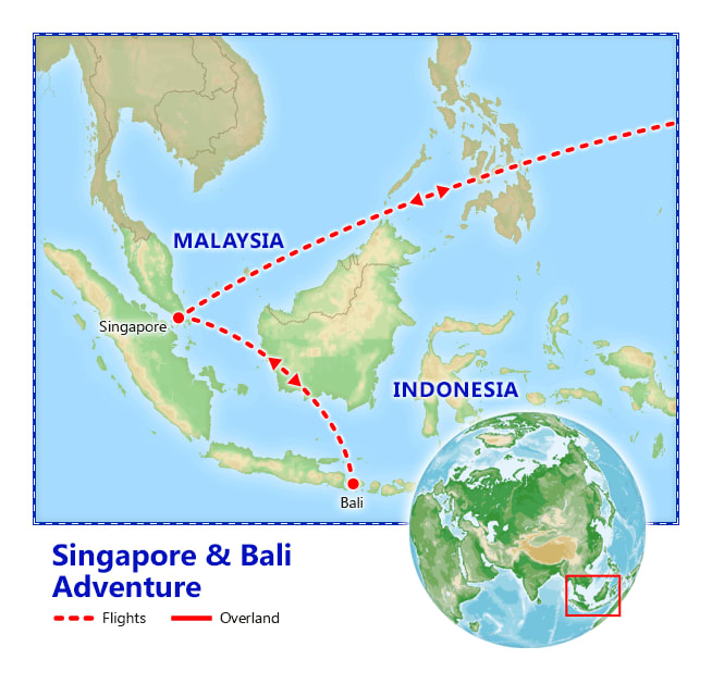 Singapore & Bali Adventure map