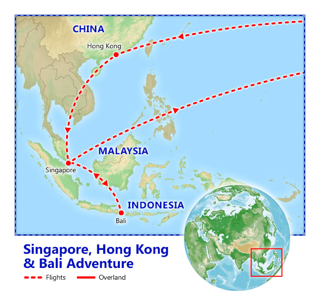 Singapore, Hong Kong & Bali Adventure map