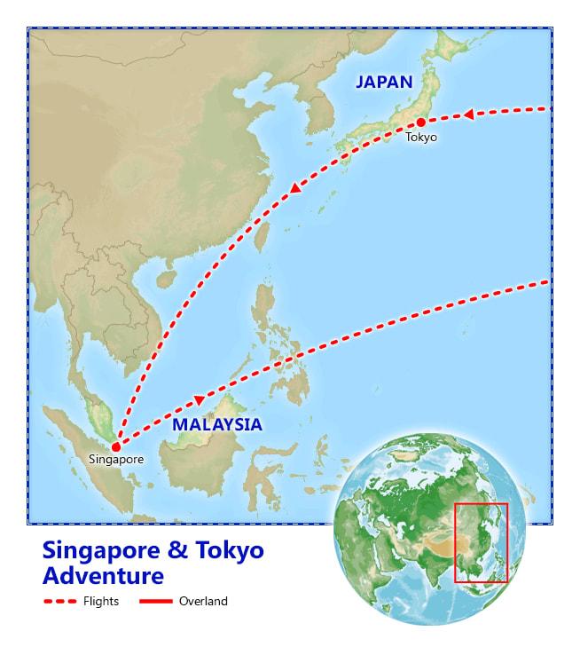 Singapore & Tokyo Adventure map