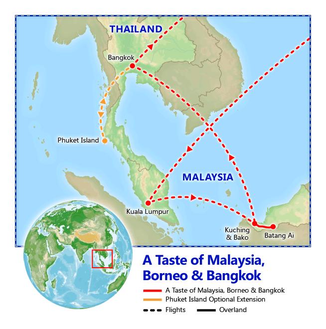 A Taste of Malaysia, Borneo & Bangkok map