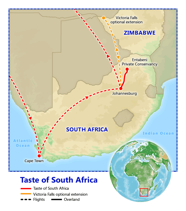 A Taste of South Africa map
