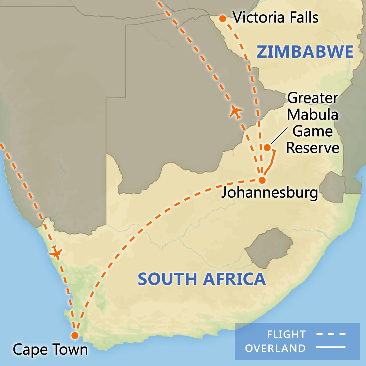 A Taste of South Africa with Victoria Falls map