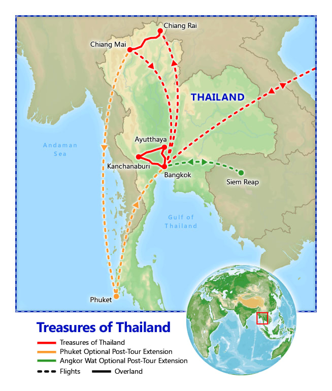 Treasures of Thailand map