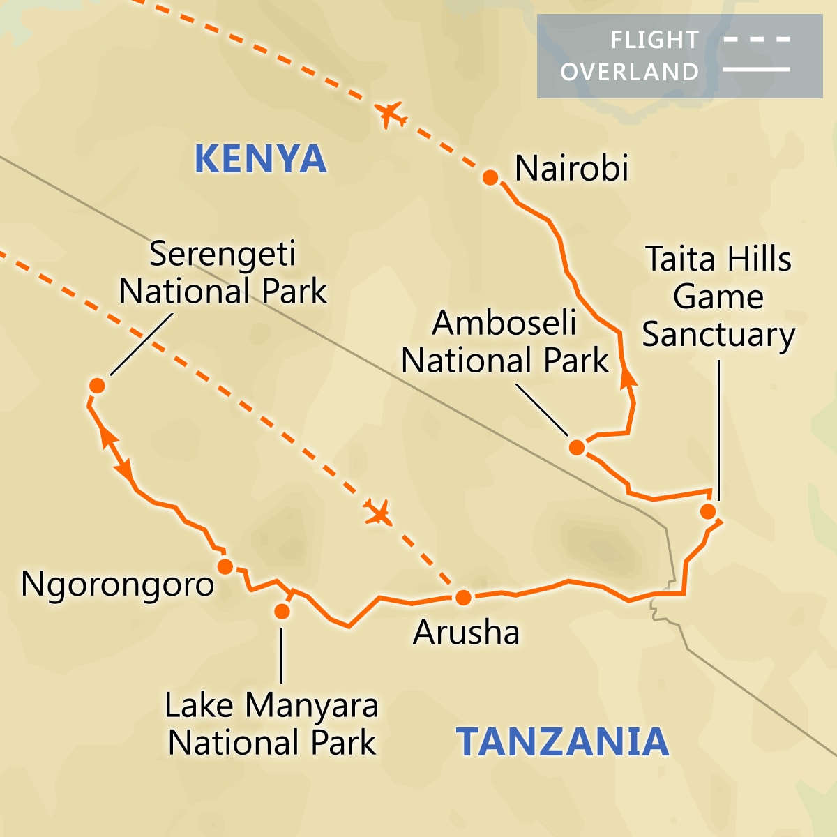 Treasures of Tanzania & Kenya map