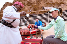 Enjoying Bedouin tea