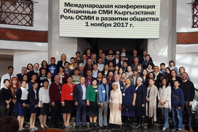 Participants of community media conference in Bishkek in November 2017.