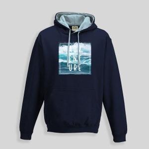 A blue ADV ENT URE design hoodie