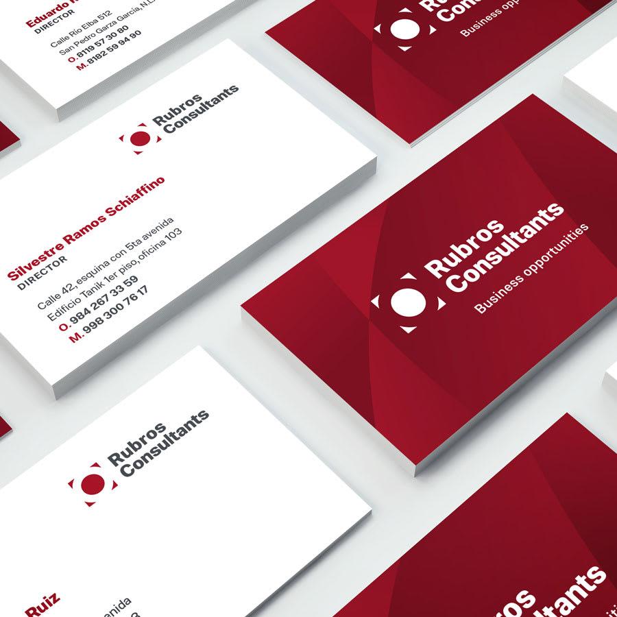 Tarjetas de presentación Rubros Consultants