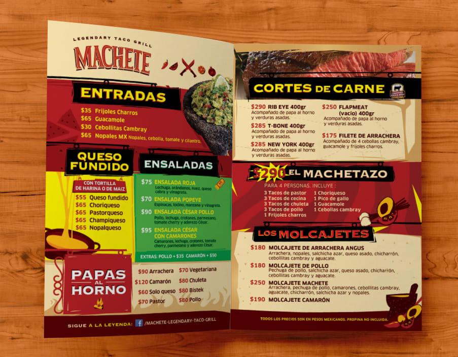 Menú Machete 2