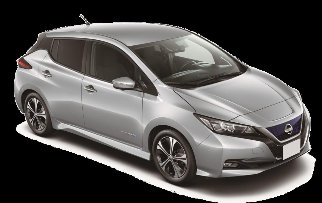 Sølvgrå Nissan Leaf studio
