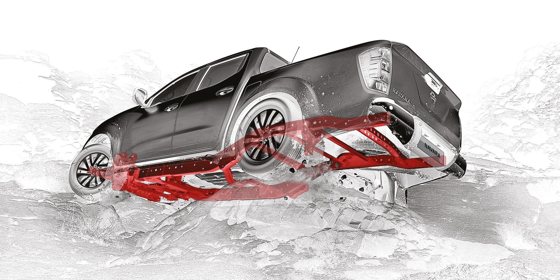 Illustrasjon av Nissan Navara med uthevet ramme i rødt