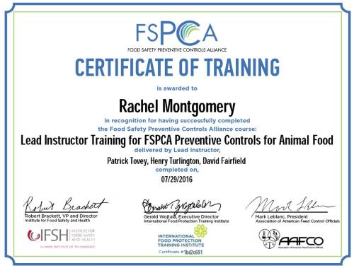 FSPCA Instructor Cert Animal Food