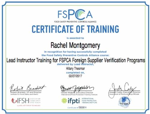 Rachel Montgomery FSVP Lead Instructor Certificate