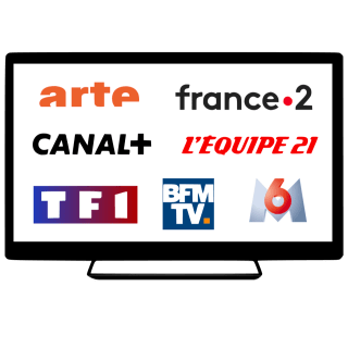 A desktop screen with the TF1, Canal+, France 2, L'Equipe 21, BFM-TV, arte, and M6 logos.
