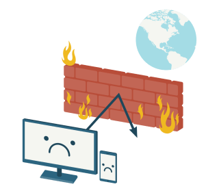 A firewall separating devices from a globe.