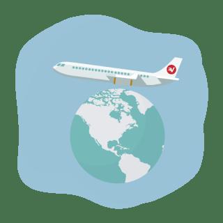 VPN jet over a globe.