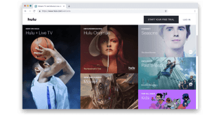 Hulu welcome screen with images of shows.