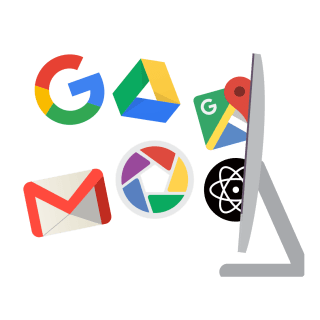 Google, Gmail, Google Drive, Google Maps, and other Google icons tumble out of a computer monitor.