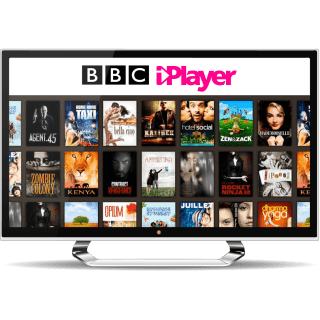 BBC iPlayer home screen on a TV monitor.