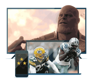 Devices with military stars, American football, and Thanos.