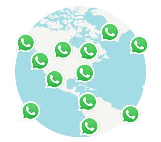 WhatsApp users connected around a globe.