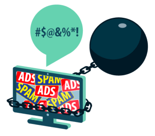 DNS codes: Monitor chained with spam and ads.