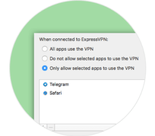 The ExpressVPN app for Mac interface, showing only selected apps being protected by VPN.
