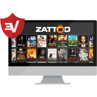 Zattoo on a desktop with the ExpressVPN shield.