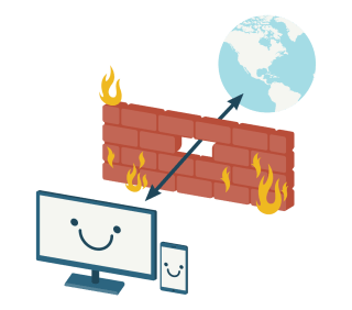 Smiling devices connected to a globe through a break in a firewall.