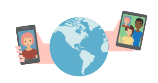 VoIP VPN: Hands holding phones with video calls, extending from a globe.