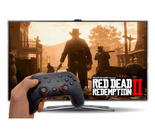 Playing Red Dead Redemption 2 on a TV.