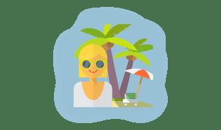 Woman on island.